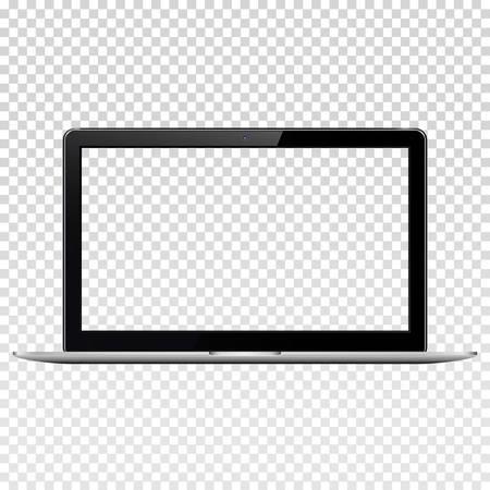 Ordinateur portable avec écran transparent, isolé sur fond transparent. Vecteurs