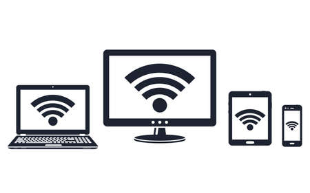 Digital display, laptop, tablet and smart phone icons with wifi symbol