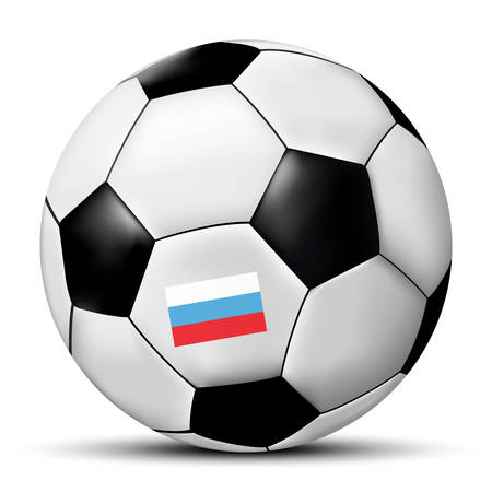 Football or soccer ball with Russia flag