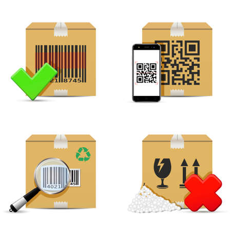 Checking delivery cardboard boxes icons. Vector illustration. Illustration
