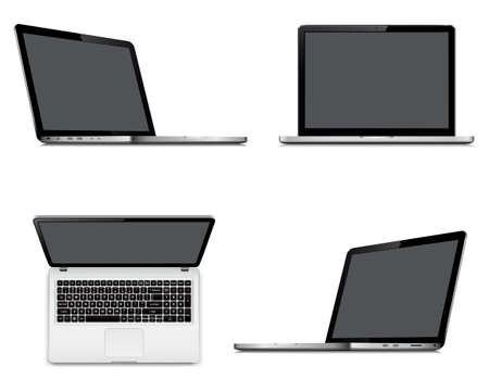 Laptop screens mockup with perspective, top and front view. Set of vector laptops with blank screen isolated on white background.
