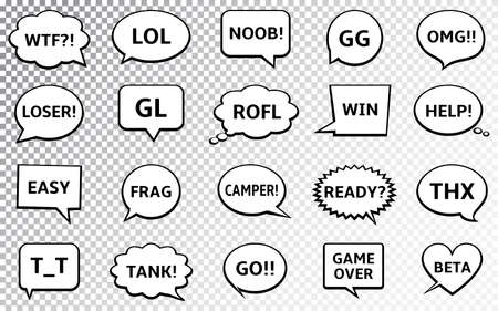 Speech bubbles with online computer gamers chat short messages. Vector Illustration. Imagens