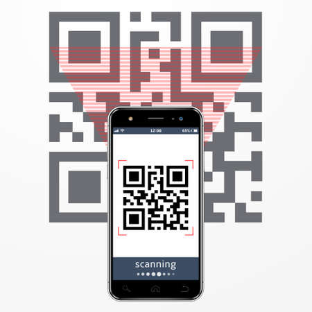 Smartphone scanning QR-code. Vector illustration.