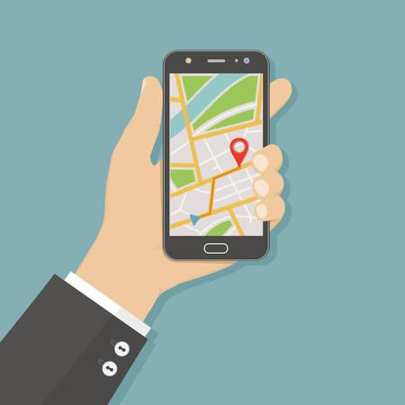 Mano que sostiene el teléfono inteligente con navegador gps de mapa de la ciudad en la pantalla del teléfono inteligente. Concepto de navegación móvil. Ilustración vectorial Estilo plano. Ilustración de vector