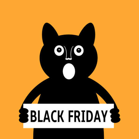 Black cat calls for black friday sale. Cat showing placard with Black Friday text. Vector illustration.  イラスト・ベクター素材