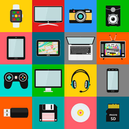 Set of technology and multimedia devices icons. Vector illustration eps10 写真素材 - 127585839
