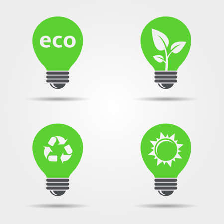 ECO light bulb icons set. Vector eps10