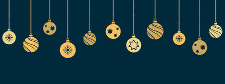Christmas and New Year banner with hanging decorations. Vector illustration.