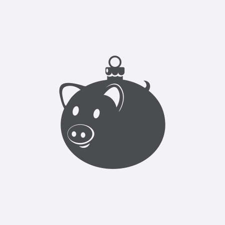 Christmas ball icon. Pig shaped New Year bauble. Vector illustration.