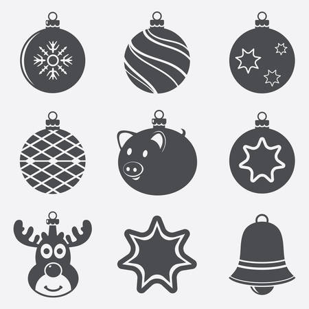 Set of Christmas balls icon. Vector illustration.