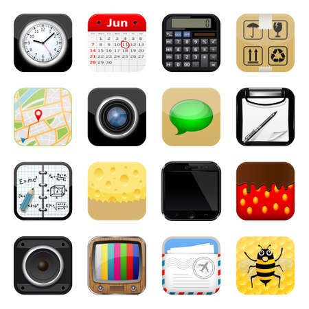 Set of apps vector icons on white background