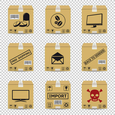 Shipping cardboard boxes isolated on transparent background