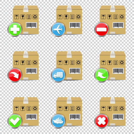 Vector shipping icons set isolated on transparent background
