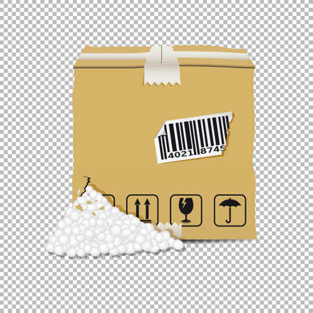 Damaged box isolated on transparent background. Vector illustration. Ilustração