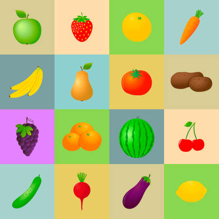 Fruits and Vegetables Icons. Vector illustration.