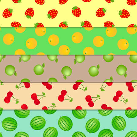 Fruits and berries seamless patterns. Vector illustration. 写真素材 - 125226630
