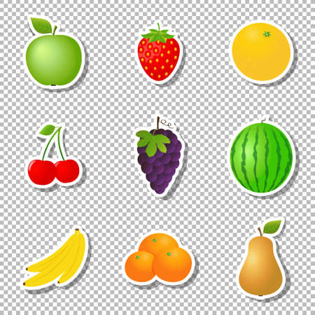 Fruit stickers isolated on transparent background. Vector illustration.