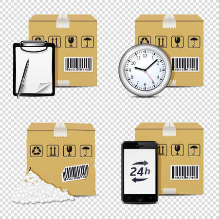 Vector delivery icons isolated on transparent background