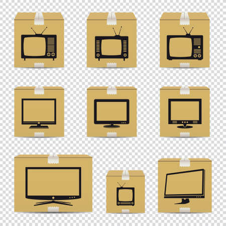 TV cardboard boxes isolated on transparent background