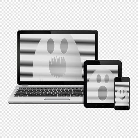 Ghost faces on digital devices screens isolated on transparent background  イラスト・ベクター素材
