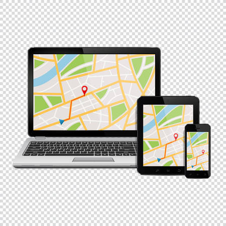 Navigation Concept. Digital devices with gps navigation map