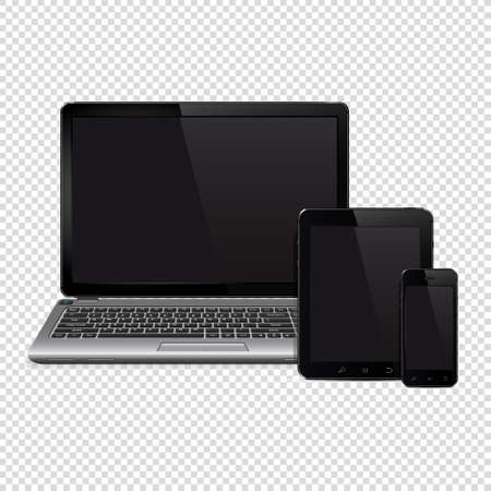 Vector laptop, tablet pc computer and mobile smartphone isolated on transparent background