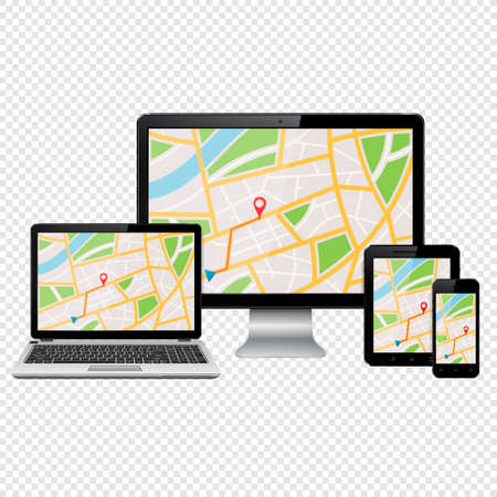 GPS map on modern digital devices isolated on transparent background 写真素材 - 125226638