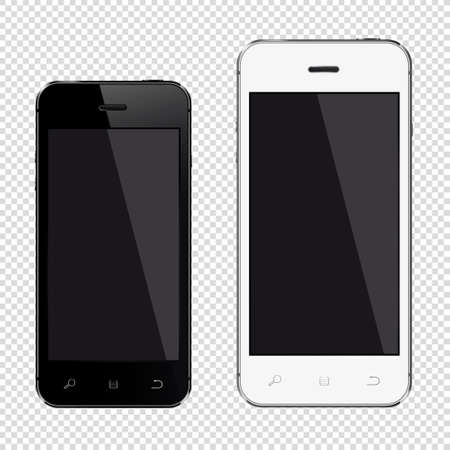 Realistic mobile phones with blank screen isolated on transparent background 写真素材 - 125226639