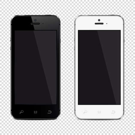 Mobile phone isolated on transparent background, realistic vector illustration.