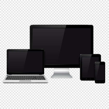 Realistic vector set of modern digital devices isolated on transparent background