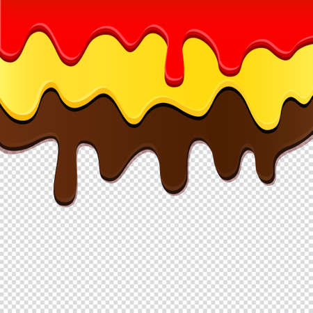 Vector flowing chocolate and cream isolated on transparent background  イラスト・ベクター素材