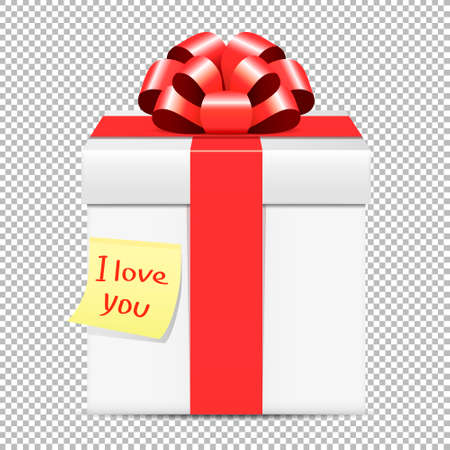 White gift box with red bow and yellow paper note isolated on transparent background 写真素材 - 125226643