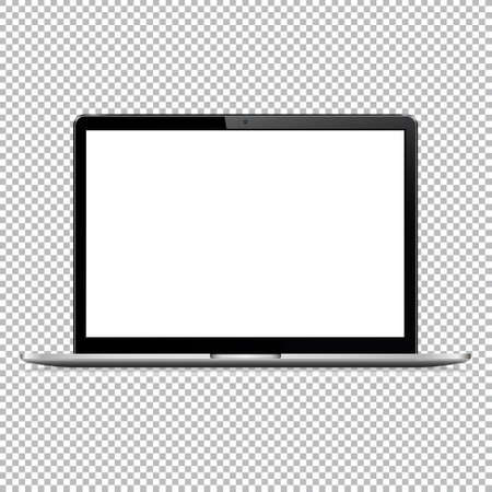 Modern laptop computer vector mockup isolated on transparent background