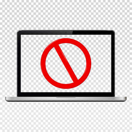 Stop sign on laptop transparent screen. Isolated on transparent background. Vector illustration.