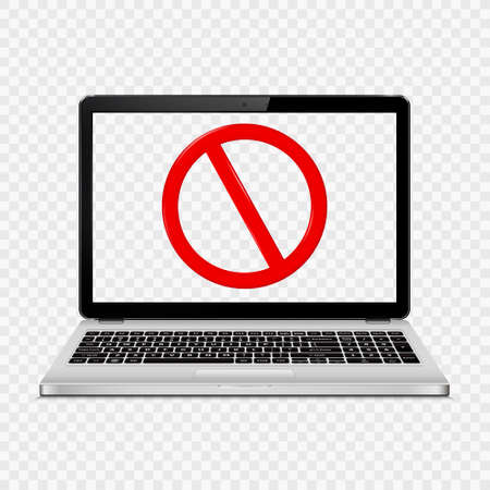 Laptop with transparent screen isolated on transparent background with stop sign on screen. Vector illustration. Ilustração