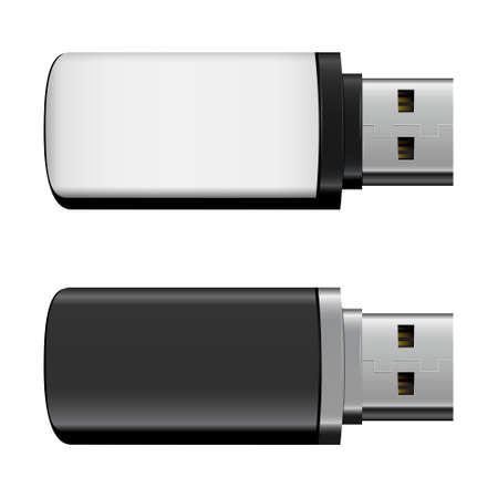 Vector isolated USB pen drives, black and white flash disks on transparent background  イラスト・ベクター素材