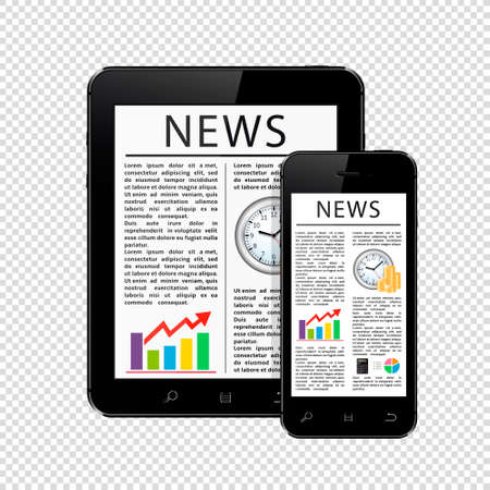 News articles on tablet pc and mobile phone isolated on transparent background. Vector illustration.  イラスト・ベクター素材