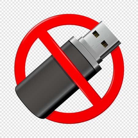 No usb flash red drive sign isolated on transparent background. Vector illustration.