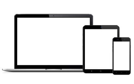 Modern digital devices with empty space on white background
