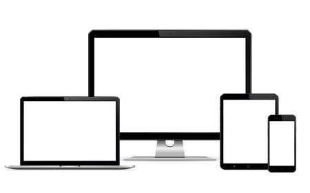 Isolated digital devices with empty space on white background  イラスト・ベクター素材