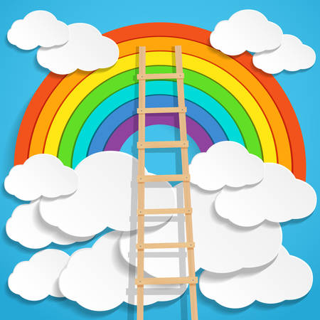 Color rainbow with clouds and wooden stair on blue sky background. Vector illustration.