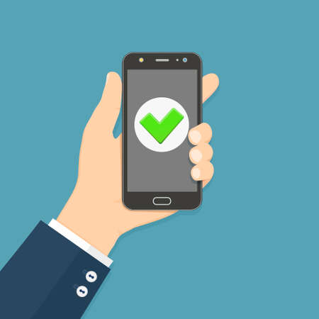 Flat design style human hand holding smartphone with green check mark on the screen