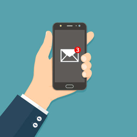 Flash Design style hand holding the smartphone with e-mail application on screen. Vector illustration.