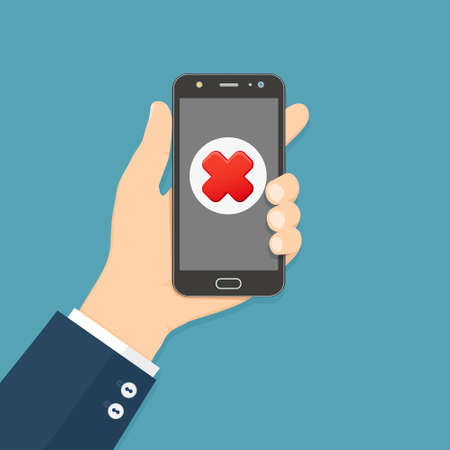 Cross mark on smartphone screen. Hand holds smartphone. Mobile phone with red cross mark. Failure concept.
