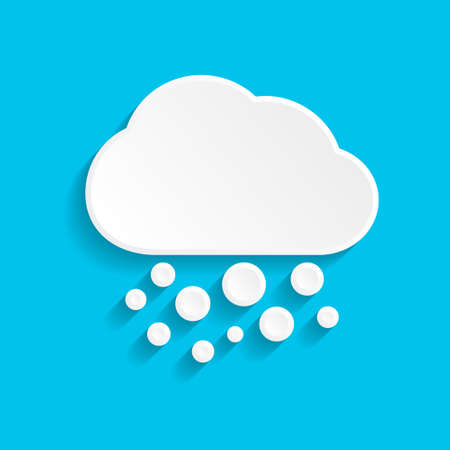 Snow and cloud icon in paper style on blue background
