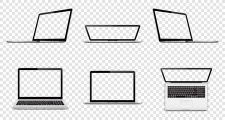Laptop with transparent screen isolated on transparent background. Perspective, top and front view with blank screen.