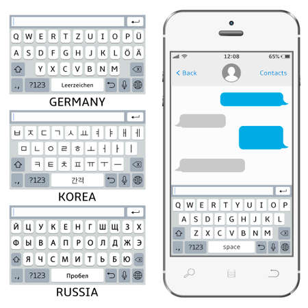 Vector phone chat interface. Sms messenger. Mobile phone virtual keyboards: English, Korean, German, Russian alphabet  イラスト・ベクター素材