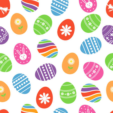 Background with Easter eggs. Vector illustration.  イラスト・ベクター素材