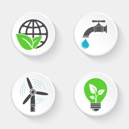 Ecology icons set. World and leaf, windmill, faucet with water drop and eco light bulb.