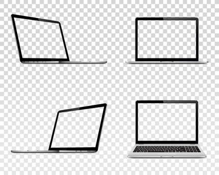Set of laptop with transparent screen. Perspective, top and front view.